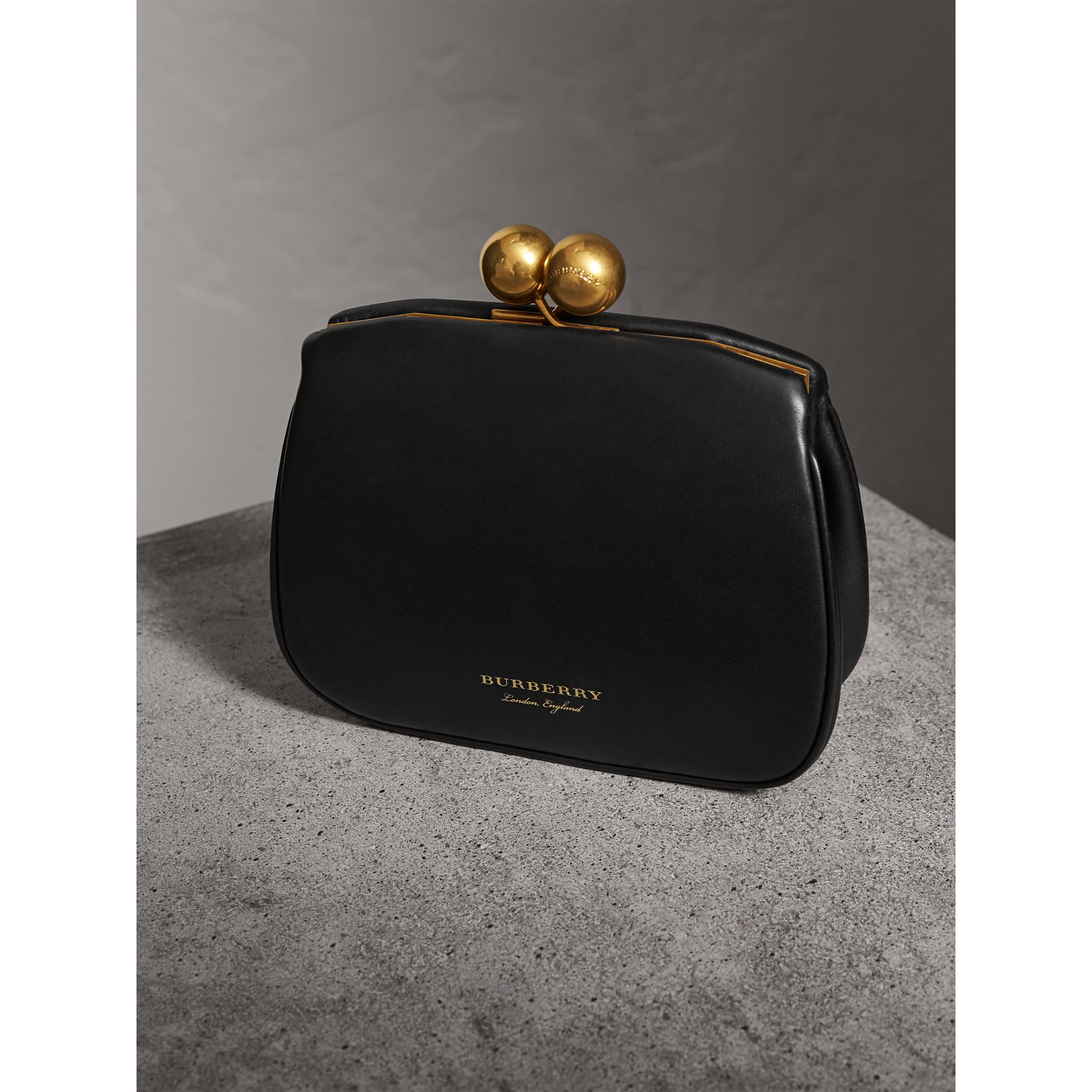 Small Leather Metal Frame Clutch Bag in Black - Women | Burberry - gallery image 4