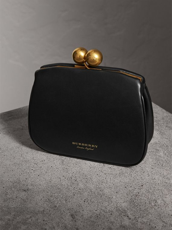Small Leather Metal Frame Clutch Bag in Black - Women | Burberry - cell image 3