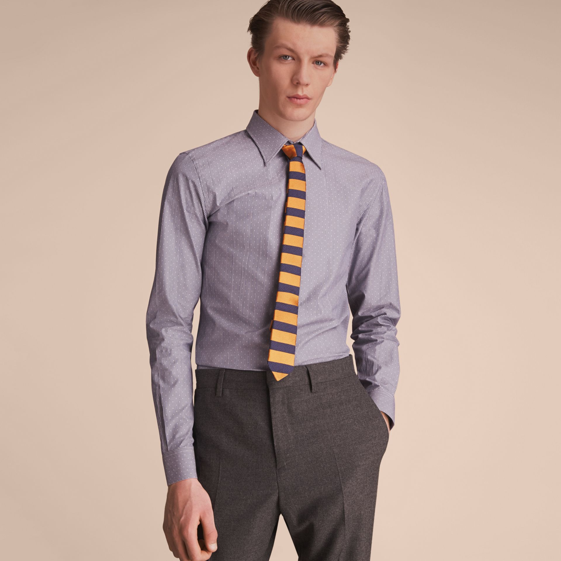 Slim Fit Striped Cross Dobby Cotton Shirt in Antique Navy - Men | Burberry - gallery image 6