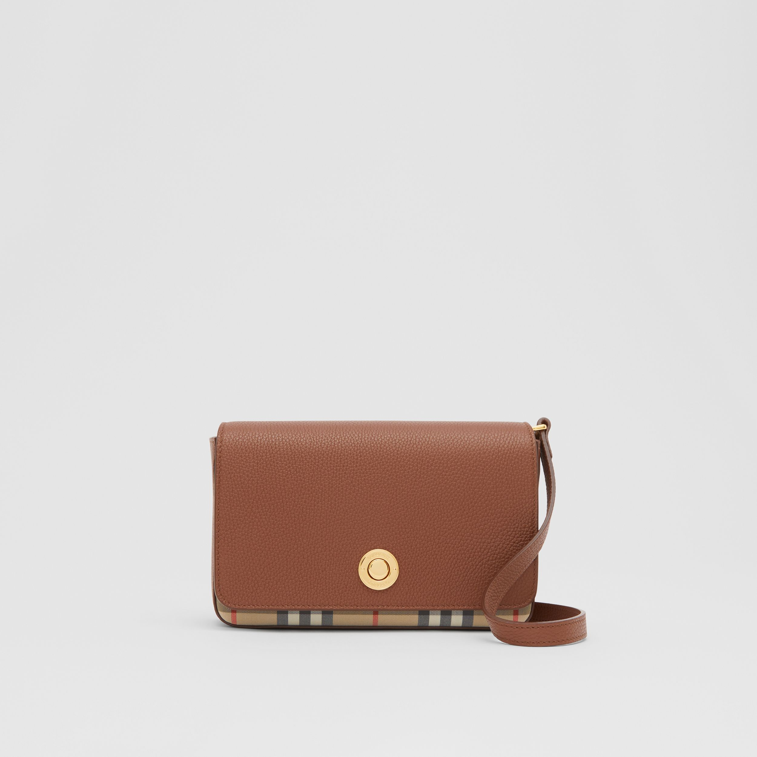 Small Leather and Vintage Check Crossbody Bag in Tan - Women | Burberry Australia - 1