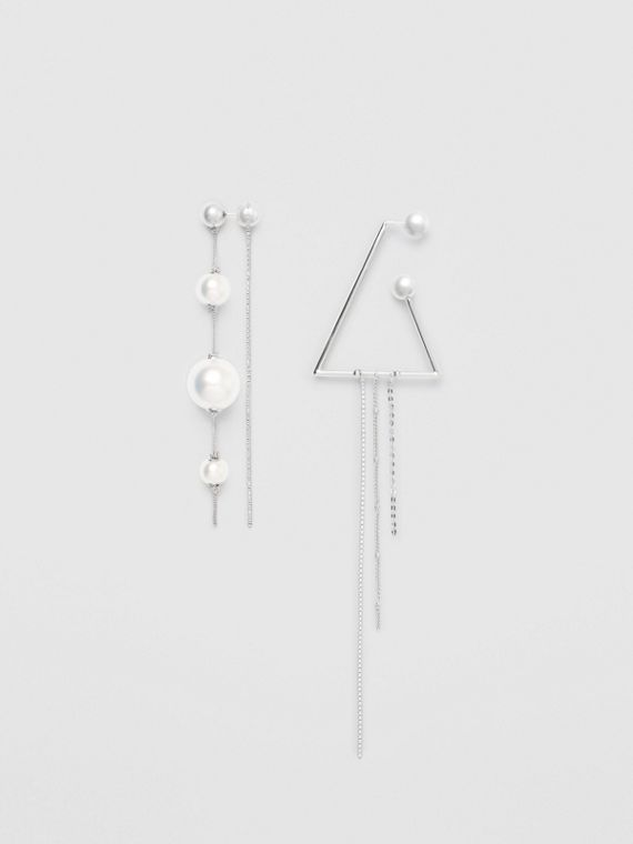 Faux Pearl and Triangle Palladium-plated Drop Earrings in Palladio