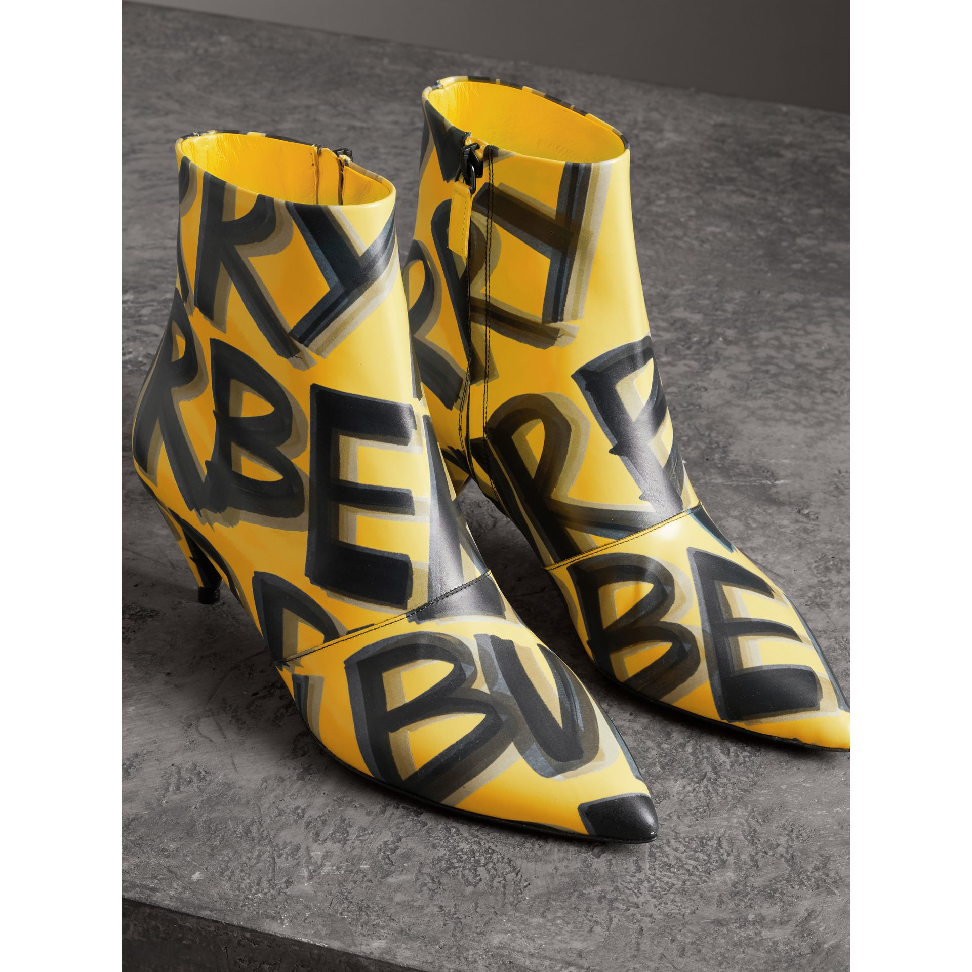 Graffiti Print Leather Ankle Boots in Vibrant Yellow - Women | Burberry - gallery image 4
