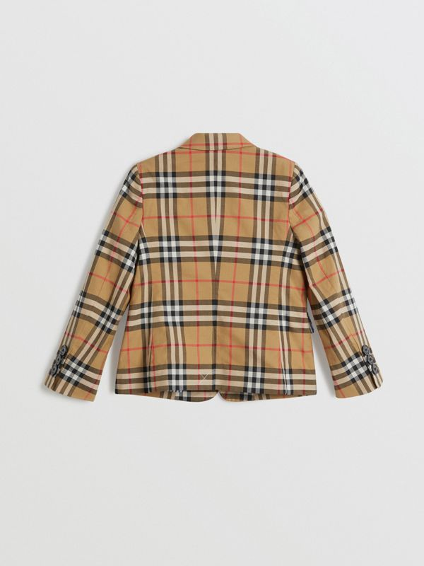 Vintage Check Cotton Blazer in Antique Yellow | Burberry - cell image 2