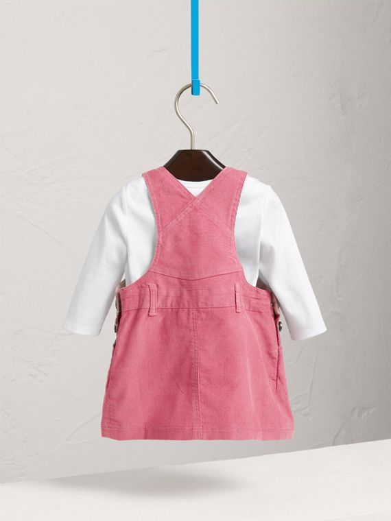 Cotton Corduroy Pinafore Dress in Mauve Pink | Burberry - cell image 3