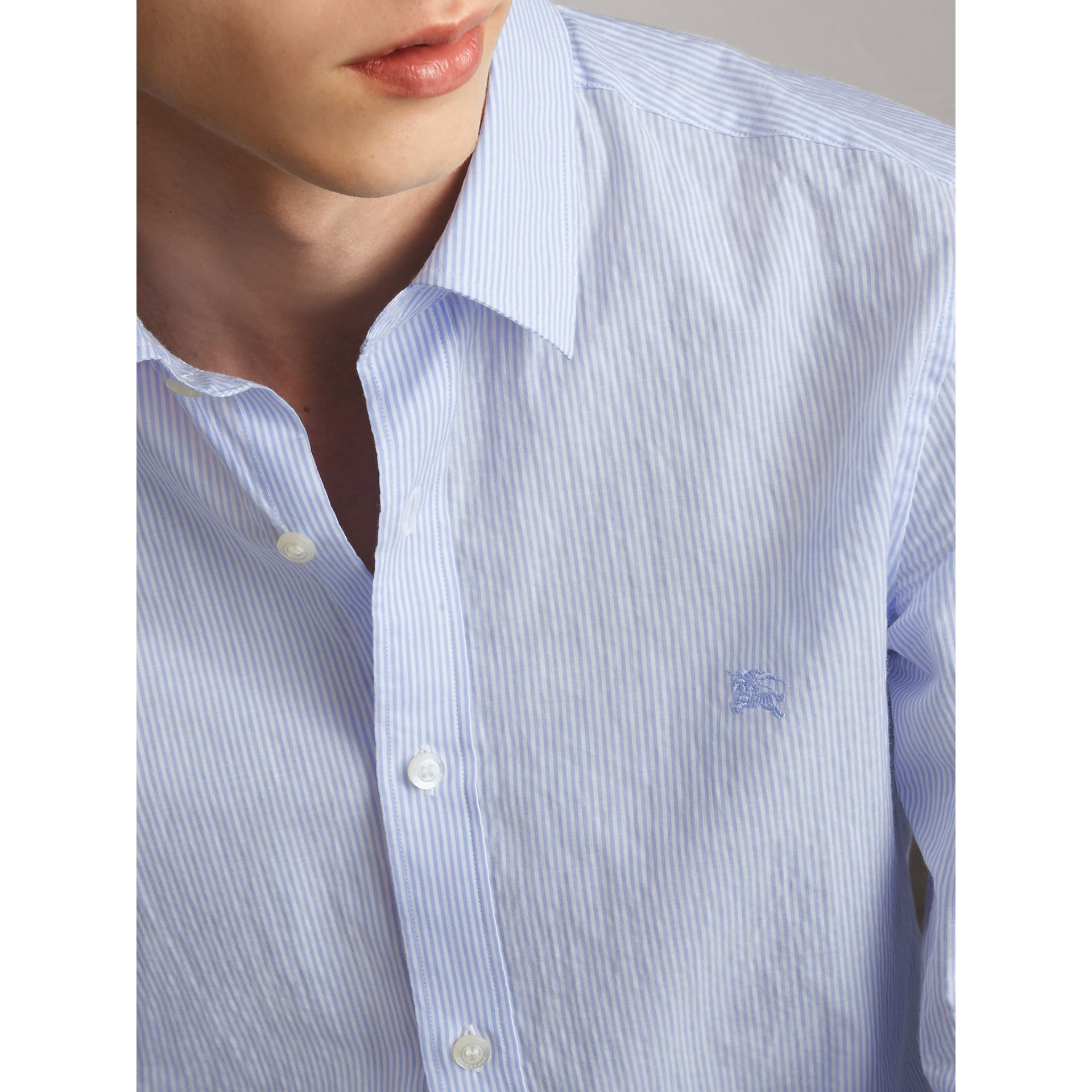 Striped Cotton Blend Shirt in Light Blue - Men | Burberry Australia - gallery image 2
