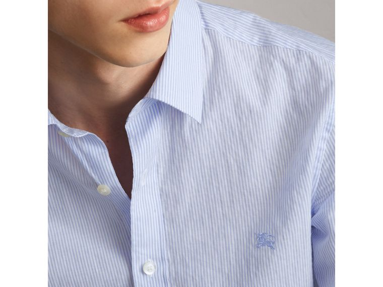 Striped Cotton Blend Shirt in Light Blue - Men | Burberry Hong Kong - cell image 1
