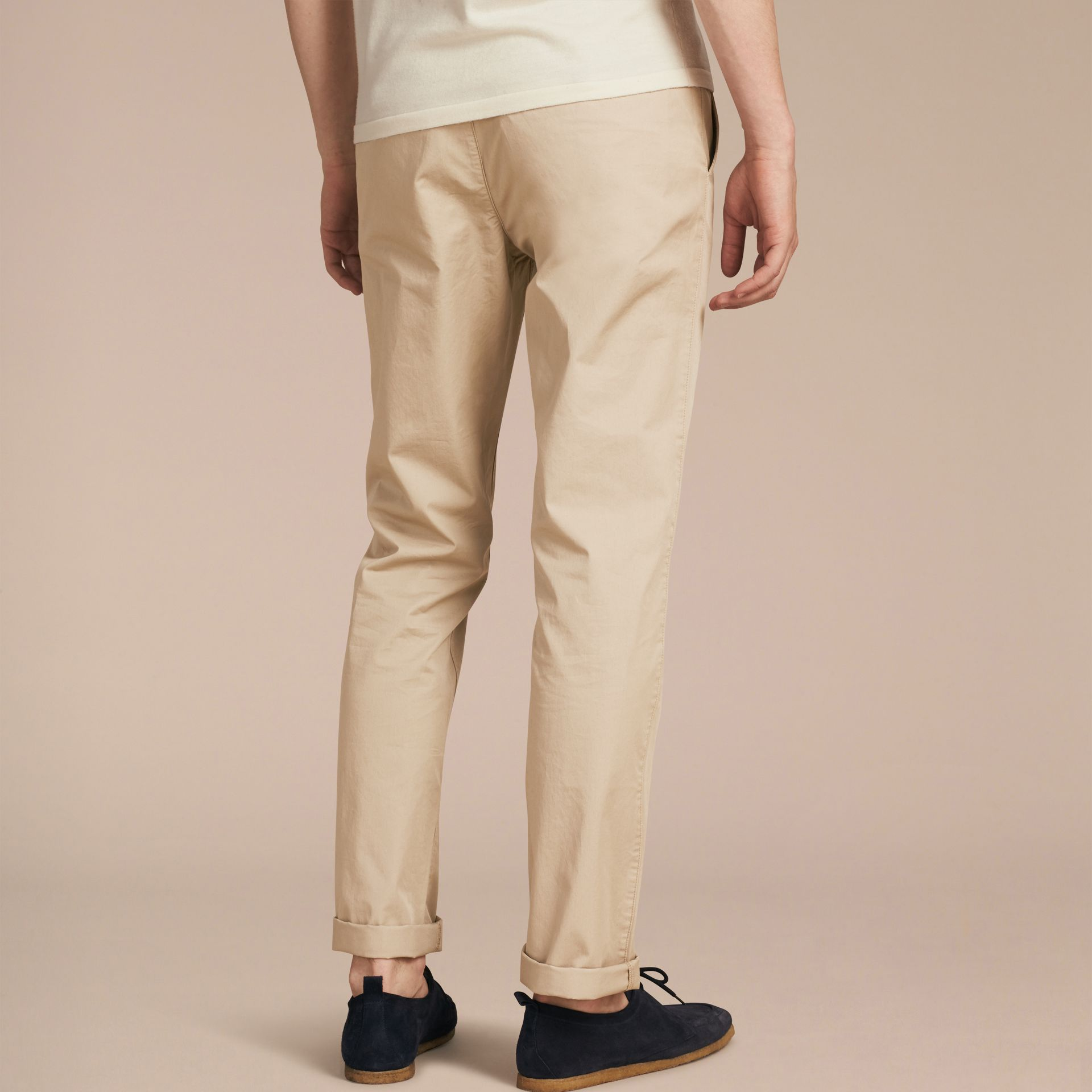 Straight Fit Cotton Chinos in Taupe - gallery image 3