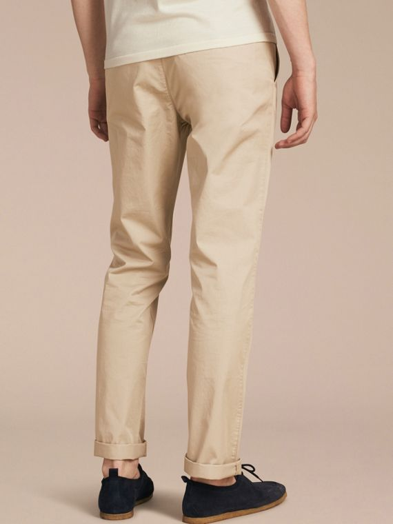 Straight Fit Cotton Chinos in Taupe - Men | Burberry - cell image 2