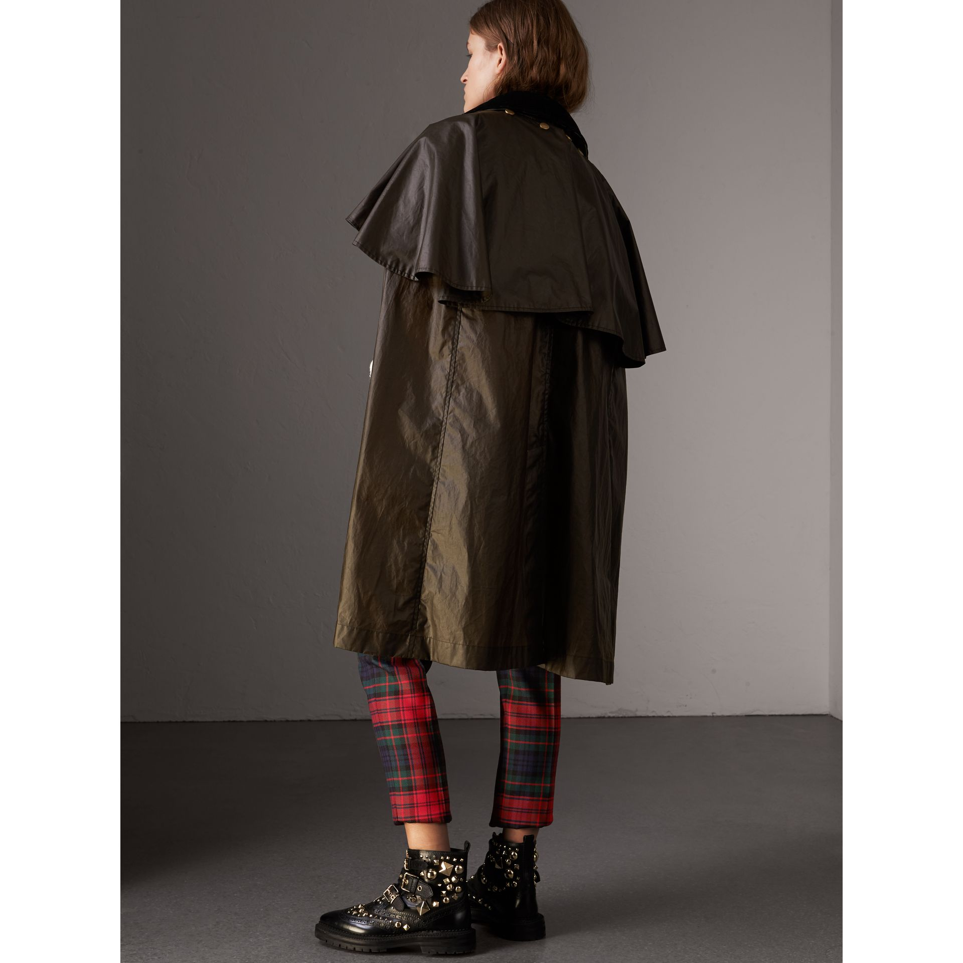 Corduroy Collar Waxed Cotton Cape in Dark Olive - Women | Burberry - gallery image 2