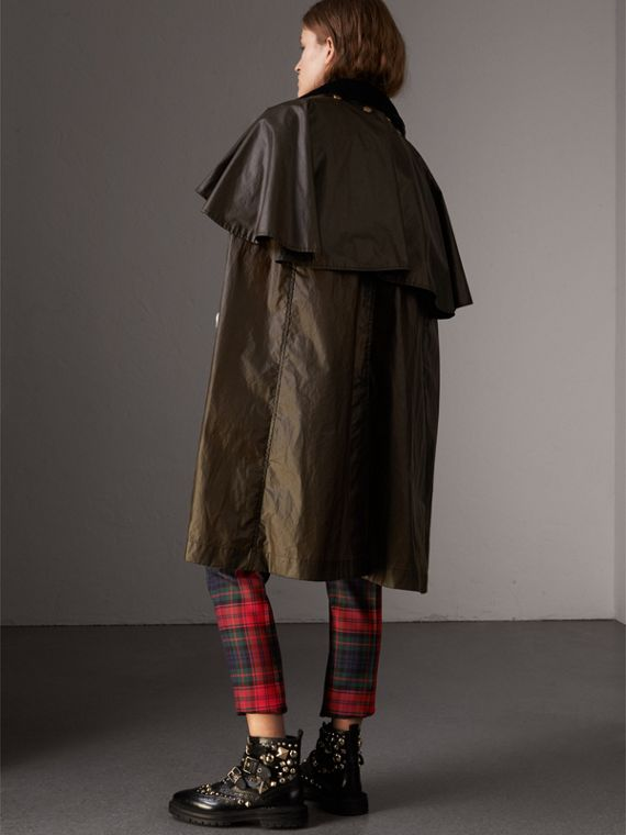 Corduroy Collar Waxed Cotton Cape in Dark Olive - Women | Burberry - cell image 2