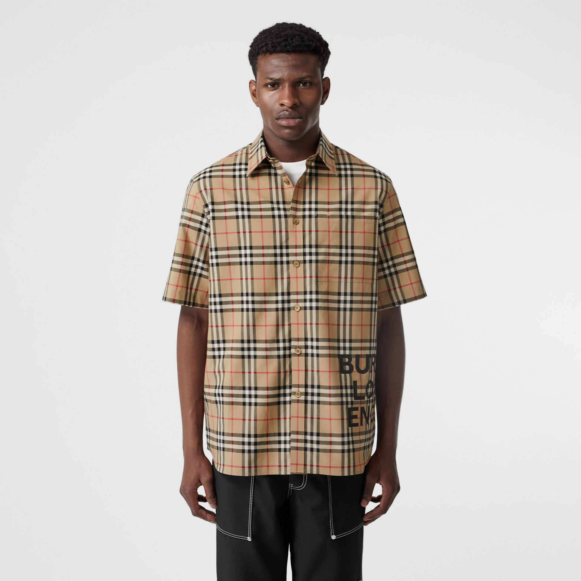 Short-sleeve Vintage Check Cotton Oversized Shirt in Archive Beige - Men | Burberry - gallery image 4