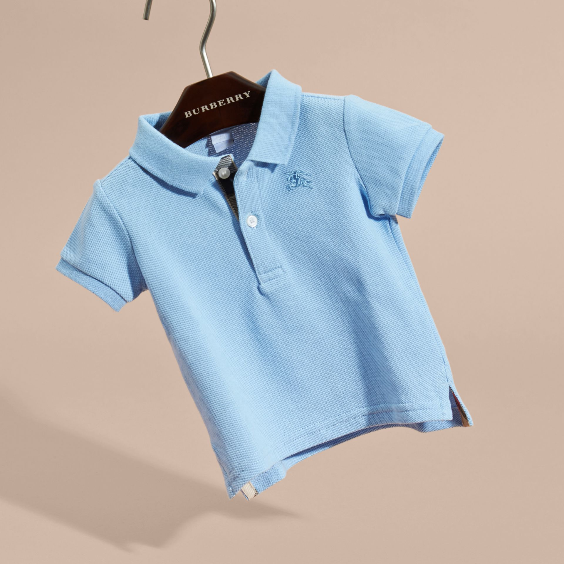 Cotton Piqué Polo Shirt Light Blue - gallery image 3