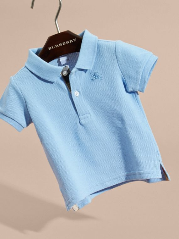 Cotton Piqué Polo Shirt Light Blue - cell image 2