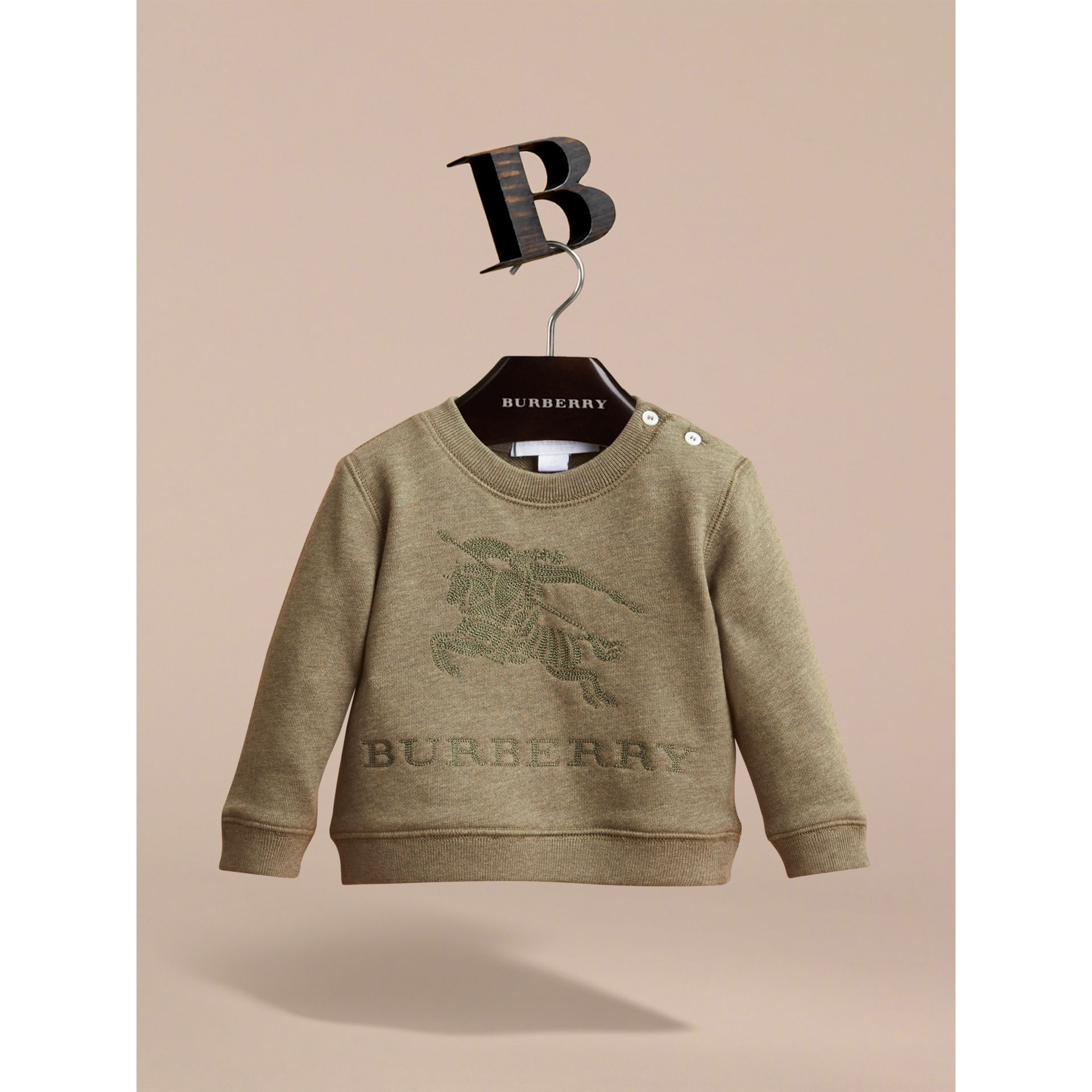 Embroidered Cotton Jersey Sweatshirt in Khaki Green Melange | Burberry Australia - gallery image 2