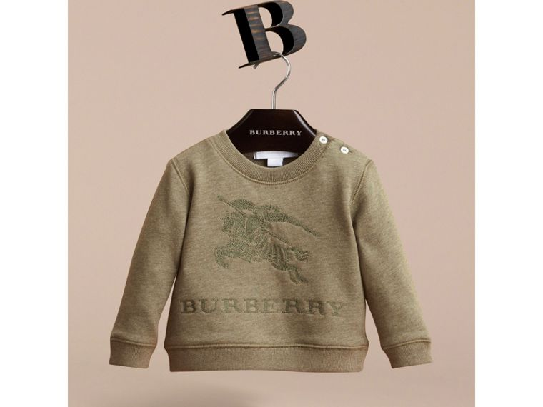 Embroidered Cotton Jersey Sweatshirt in Khaki Green Melange | Burberry Australia - cell image 1