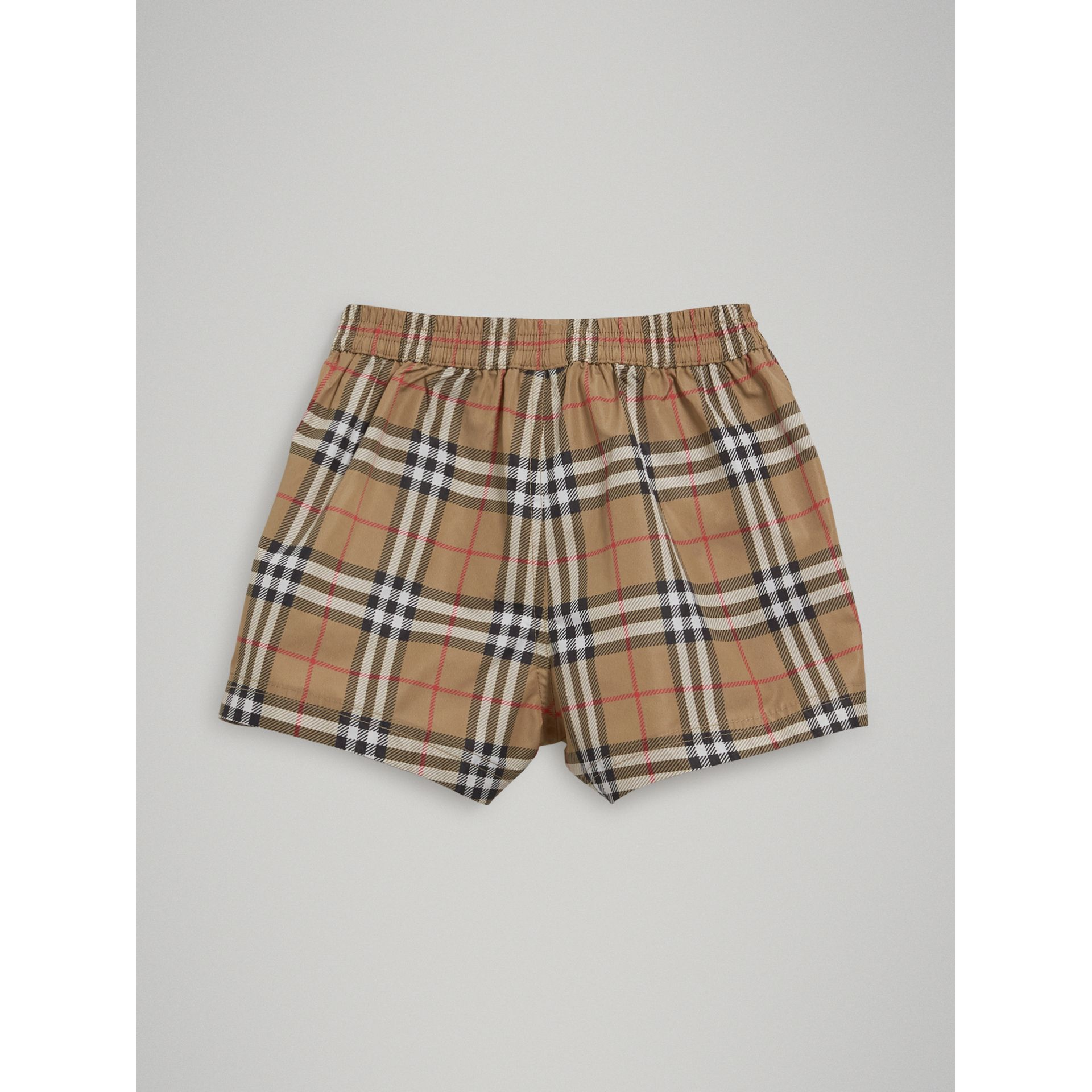 Short de bain à motif check (Camel) - Enfant | Burberry Canada - photo de la galerie 3