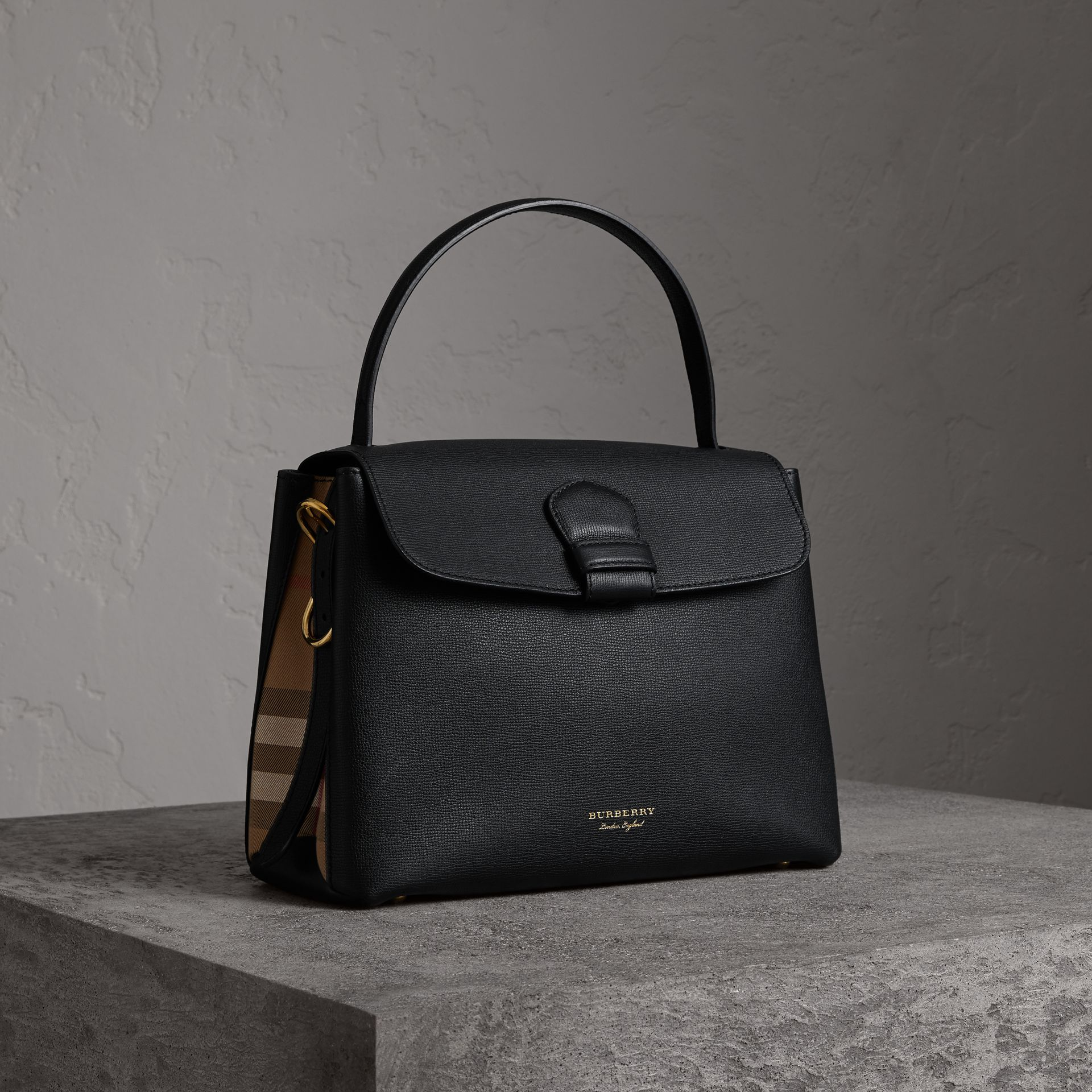 Medium Grainy Leather and House Check Tote Bag in Black - Women | Burberry Singapore - gallery image 0