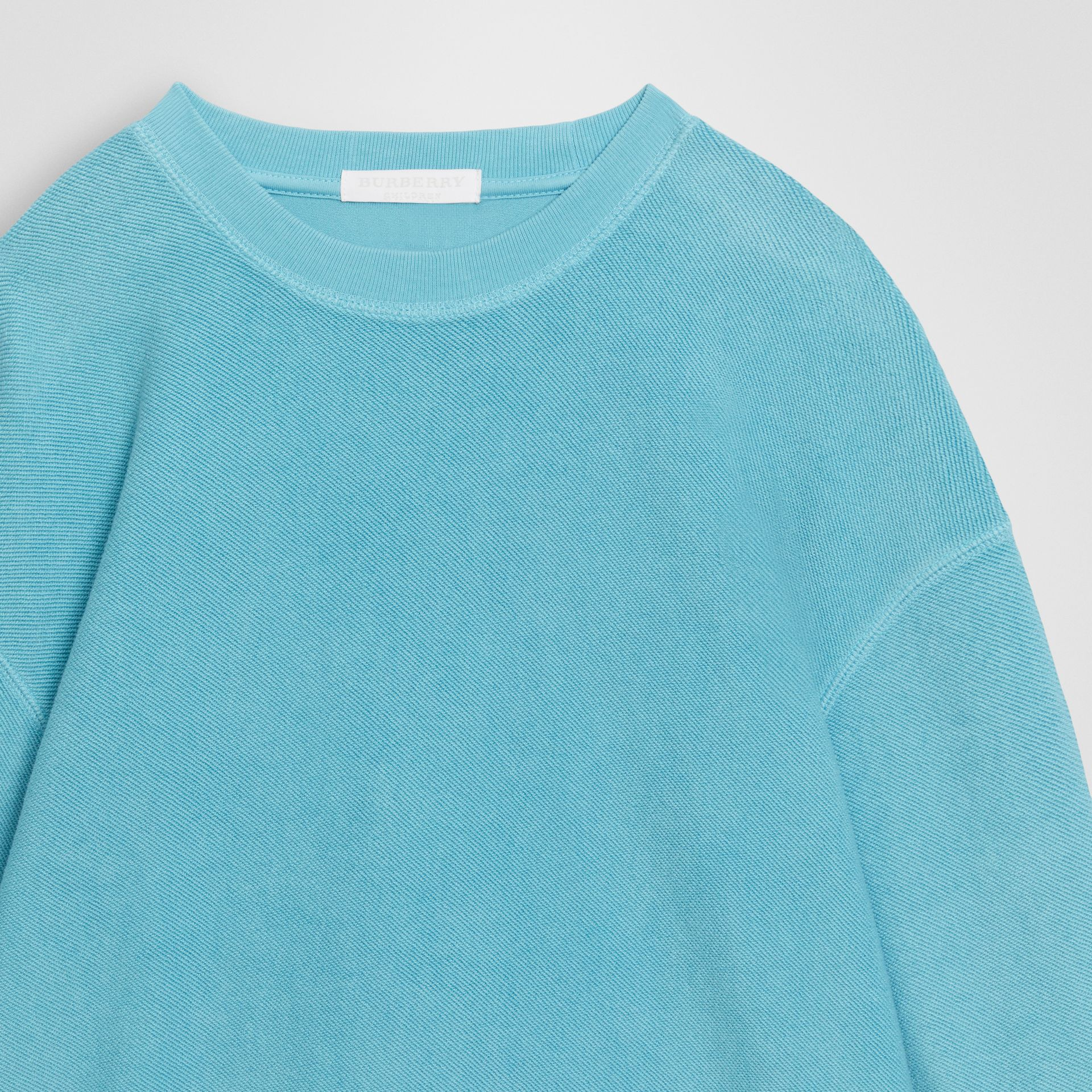 Number Print Cotton Sweatshirt in Bright Cyan Blue | Burberry - gallery image 4