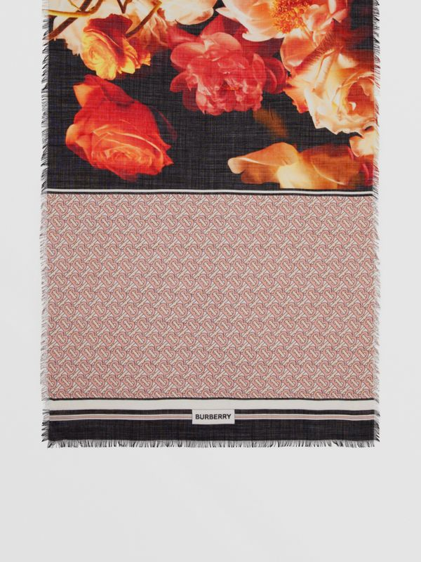 Floral and Monogram Print Wool Silk Scarf in Pale Copper Pink | Burberry - cell image 3