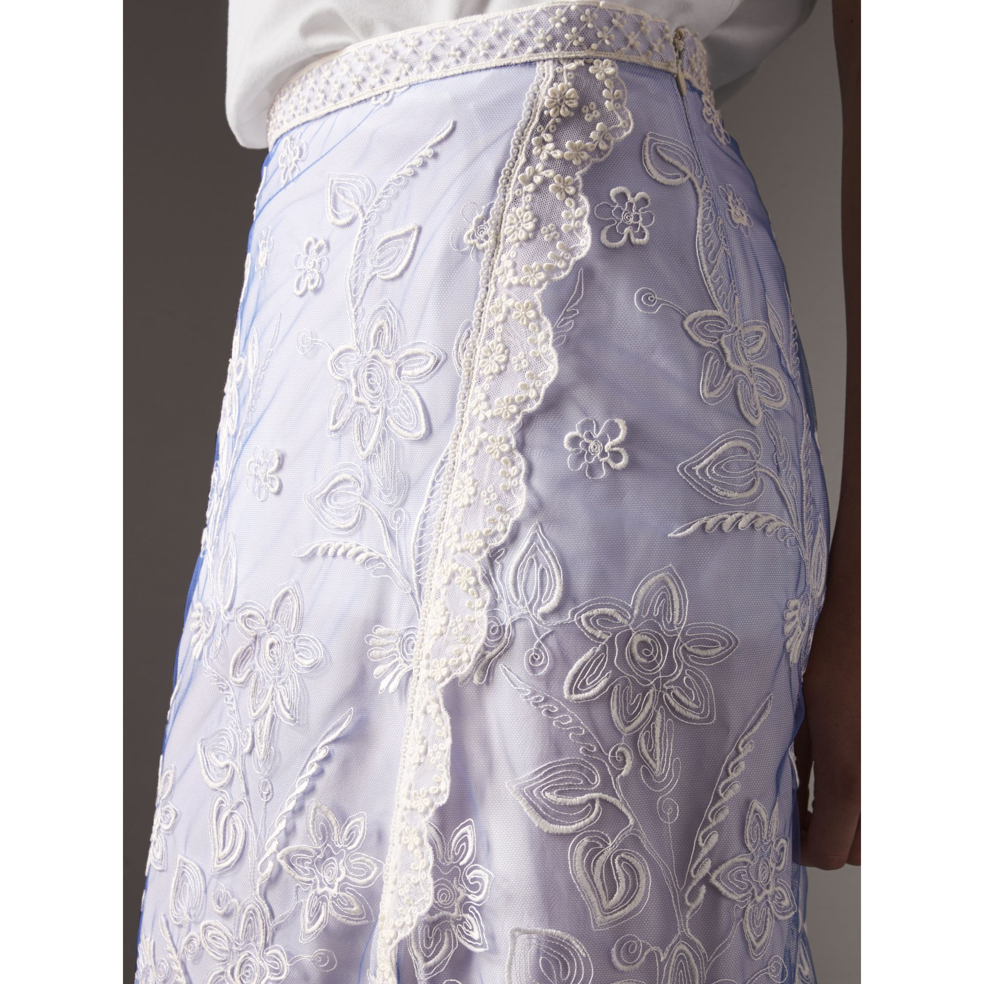 Floral-embroidered Tulle Skirt in Hydrangea Blue/white - Women | Burberry - gallery image 1