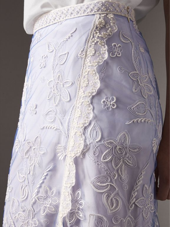 Floral-embroidered Tulle Skirt in Hydrangea Blue/white - Women | Burberry - cell image 1