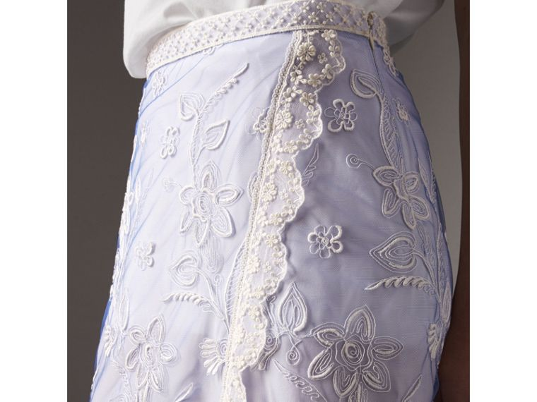 Floral-embroidered Tulle Skirt in Hydrangea Blue/white - Women | Burberry Singapore - cell image 1