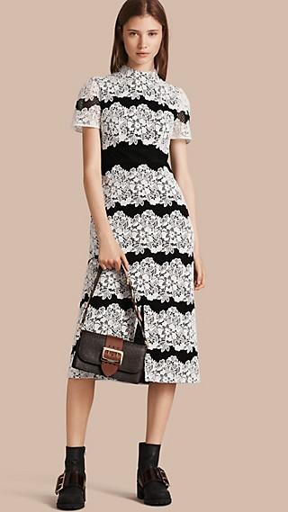 Mesh and Macramé Lace Shift Dress