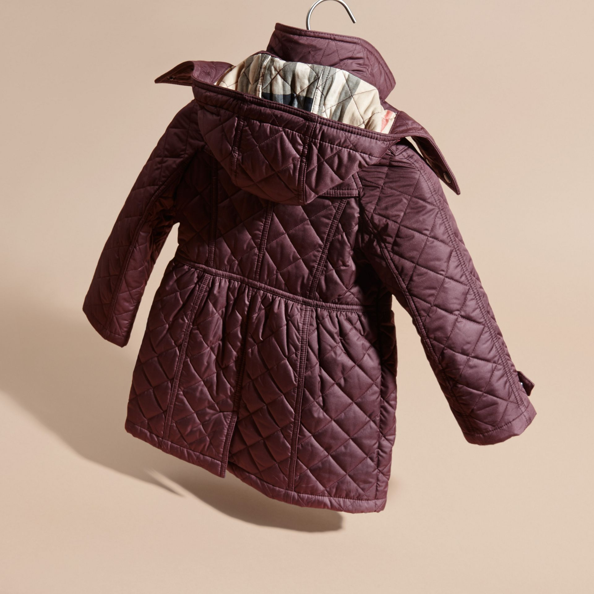 Dark elderberry Diamond Quilted Trench Coat - gallery image 4