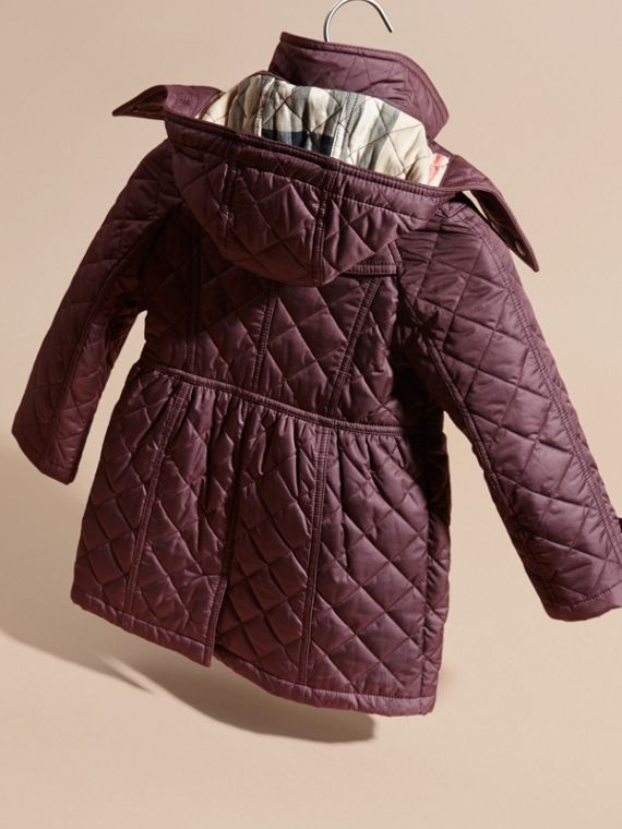 Dark elderberry Diamond Quilted Trench Coat - cell image 3
