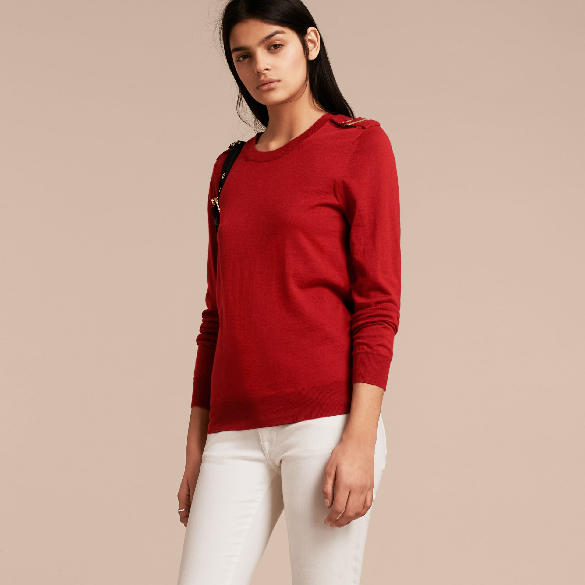 Buckle Detail Merino Wool Sweater in Parade Red - gallery image 6