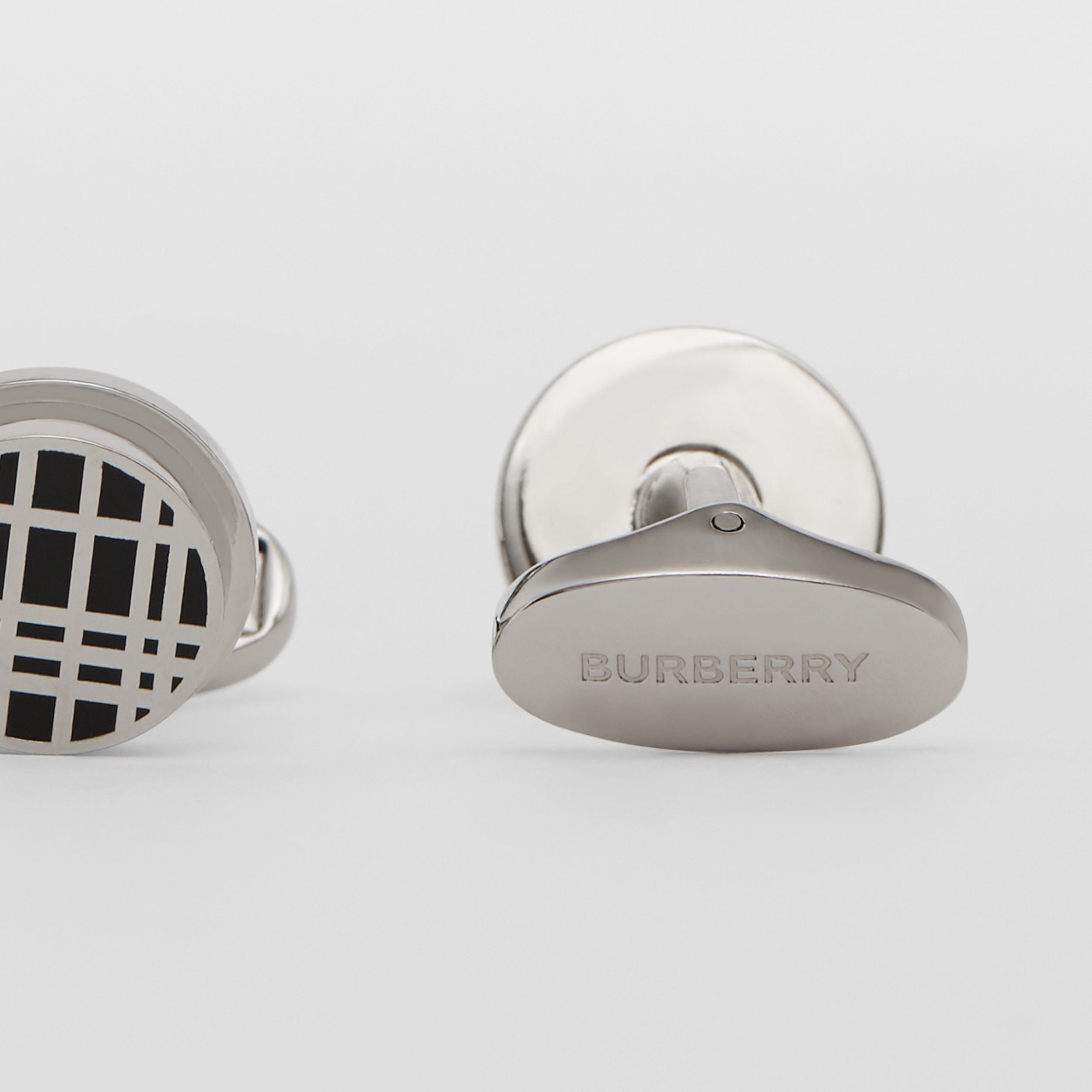 Check Detail Palladium-plated Cufflinks in Palladium/black - Men | Burberry - 2