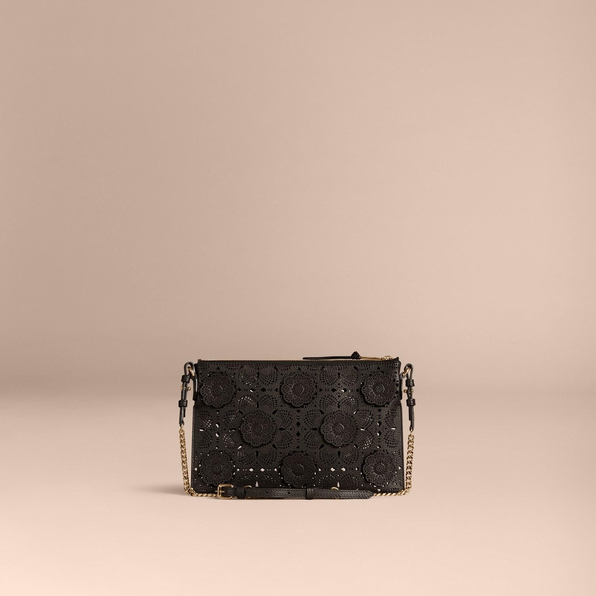 Black Laser-cut Floral Lace Leather Clutch Bag Black - gallery image 3