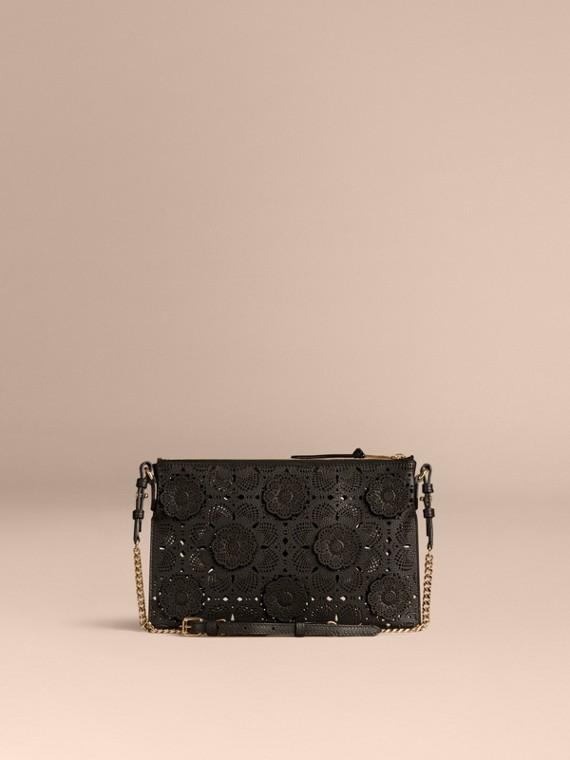 Black Laser-cut Floral Lace Leather Clutch Bag Black - cell image 2