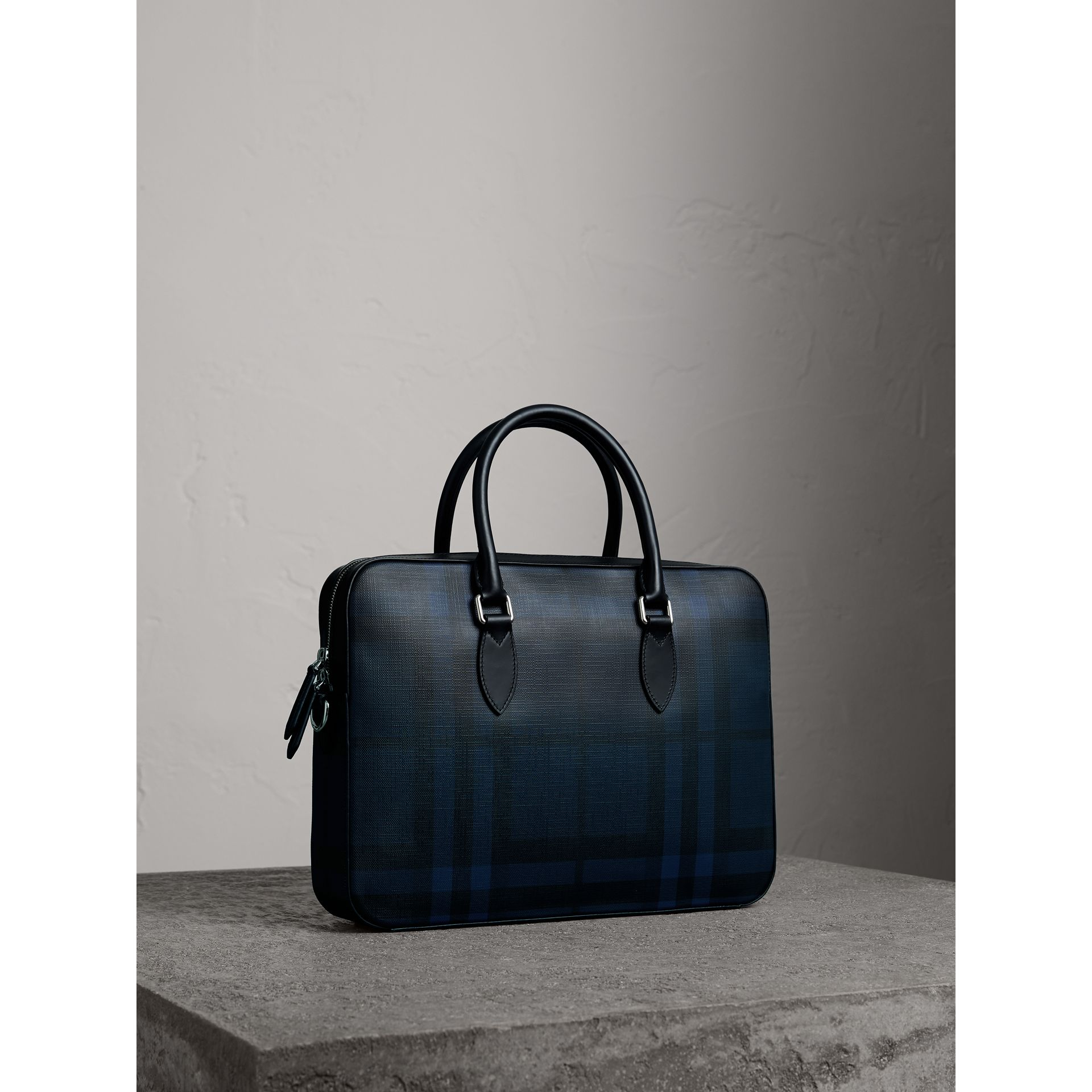 Medium Leather Trim London Check Briefcase in Navy/black - Men | Burberry Australia - gallery image 6