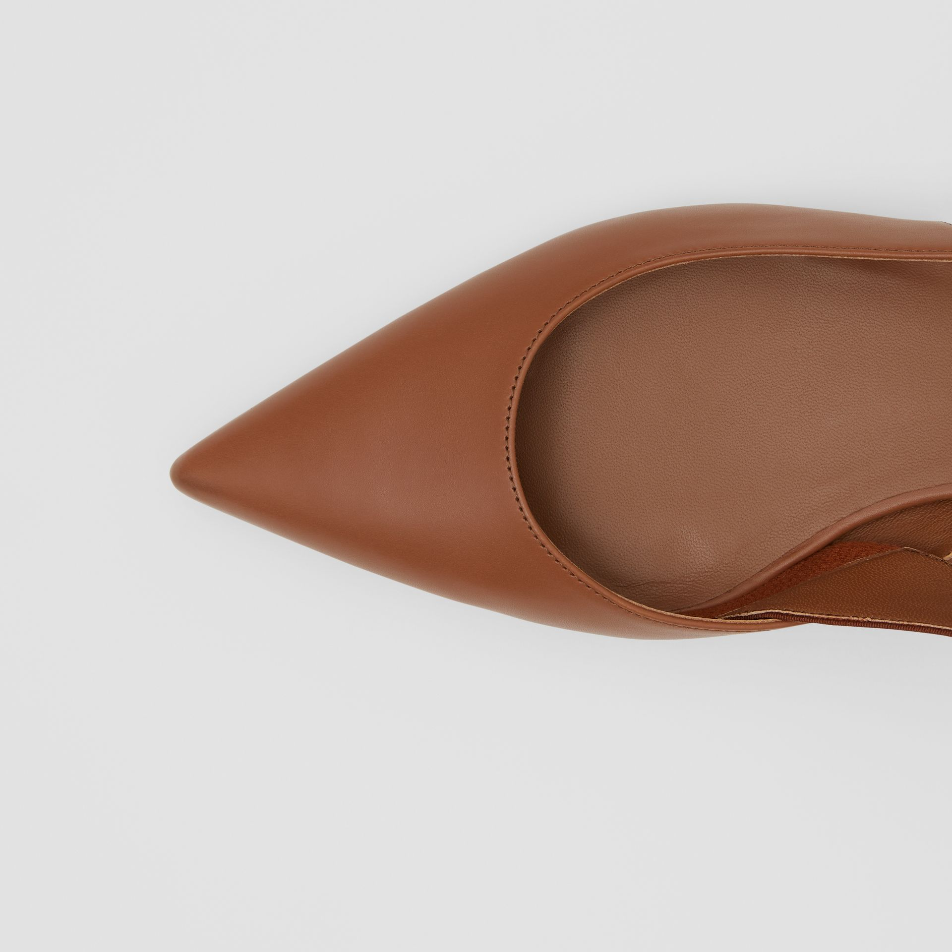 Logo Detail Leather Slingback Flats in Tan - Women | Burberry - gallery image 1