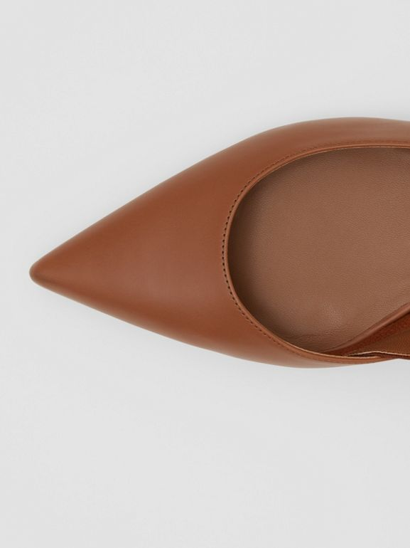 Logo Detail Leather Slingback Flats in Tan - Women | Burberry Canada - cell image 1