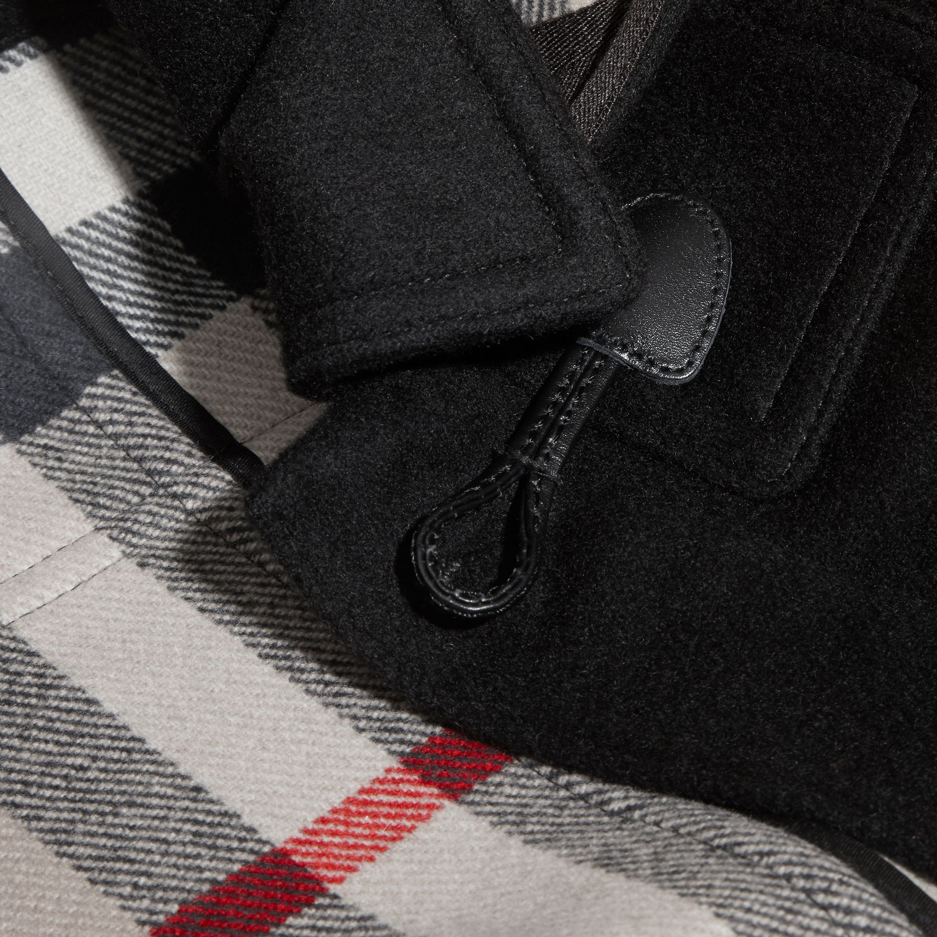 Wool Duffle Coat with Check-lined Hood Black - gallery image 2