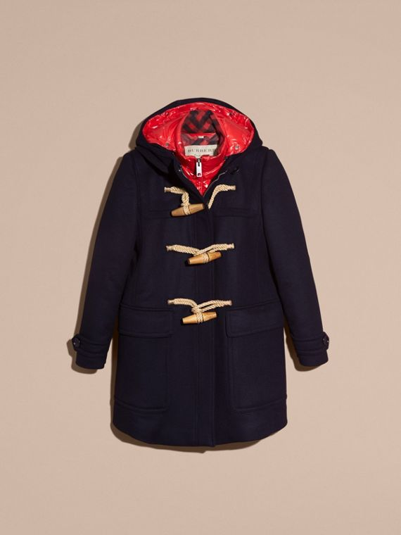 Wool Duffle Coat with Detachable Hooded Down-filled Warmer in Navy Check - cell image 3
