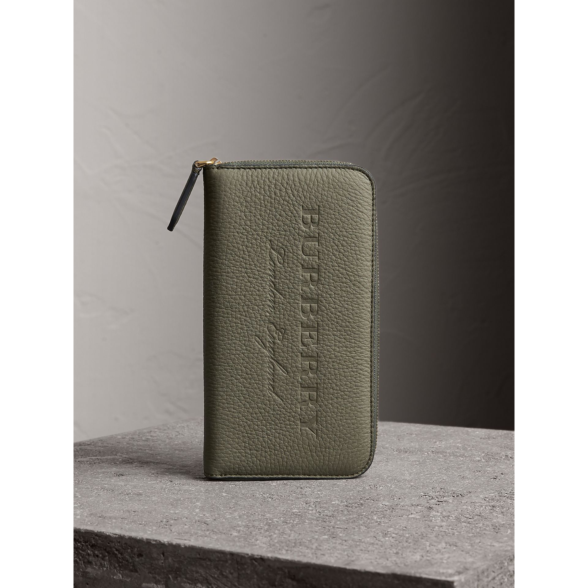 Embossed Grainy Leather Ziparound Wallet in Slate Green - Men | Burberry - gallery image 5