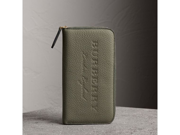 Embossed Grainy Leather Ziparound Wallet in Slate Green - Men | Burberry - cell image 4