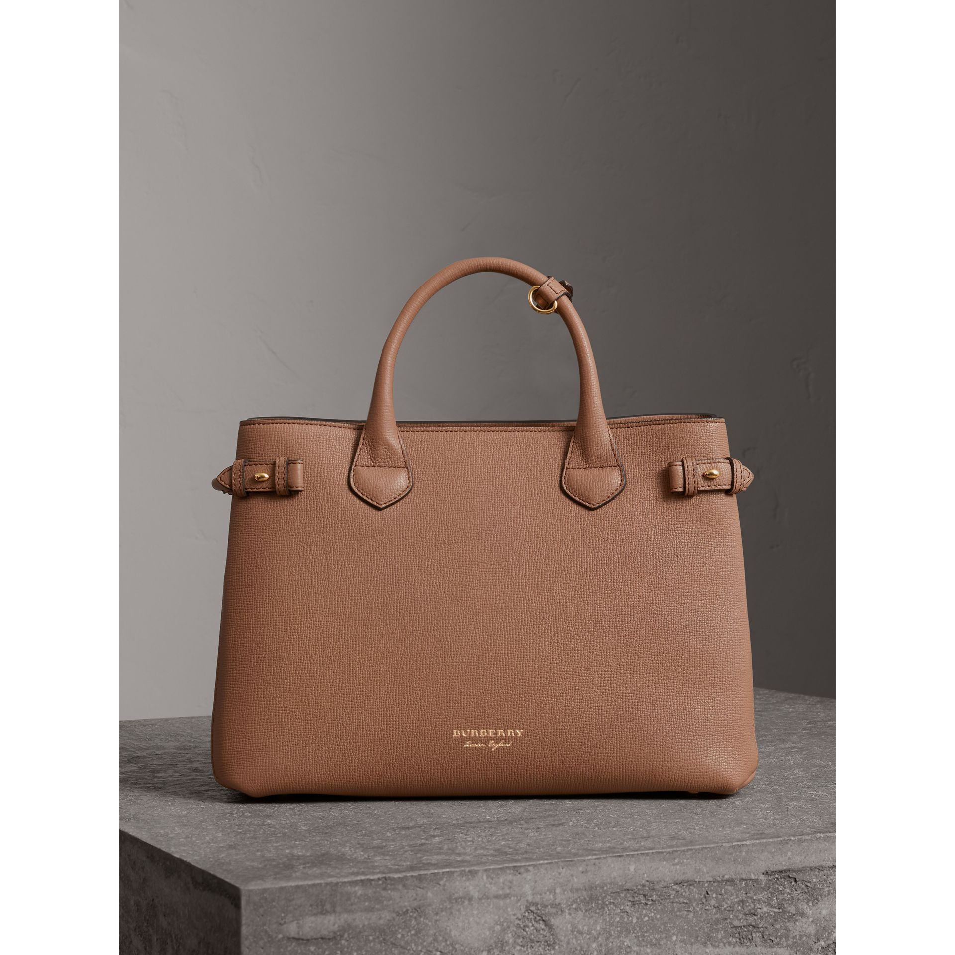 Sac The Banner medium en cuir et coton House check (Sable Foncé) - Femme | Burberry - photo de la galerie 6