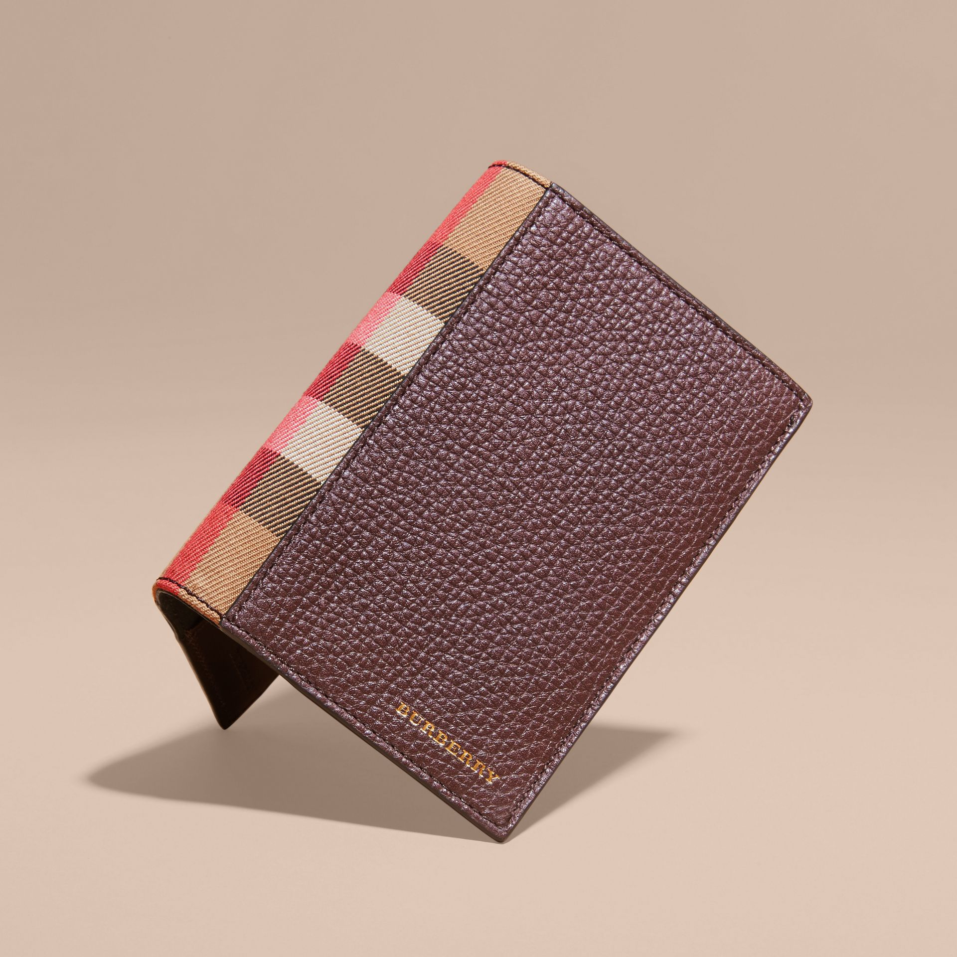 Wine Leather and House Check Passport and Card Holder Wine - gallery image 3