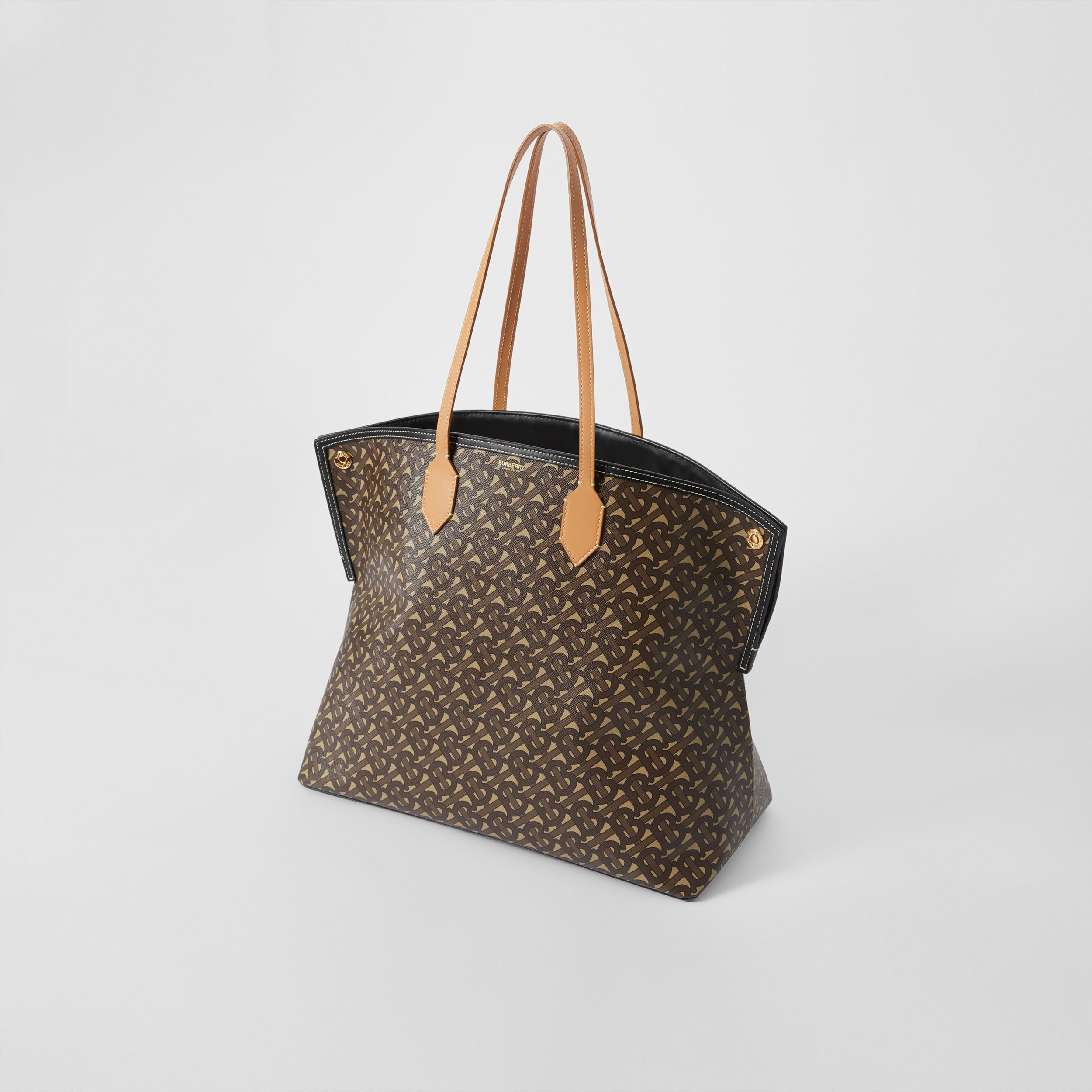 Large Monogram E-canvas Society Tote in Bridle Brown - Women | Burberry - 4