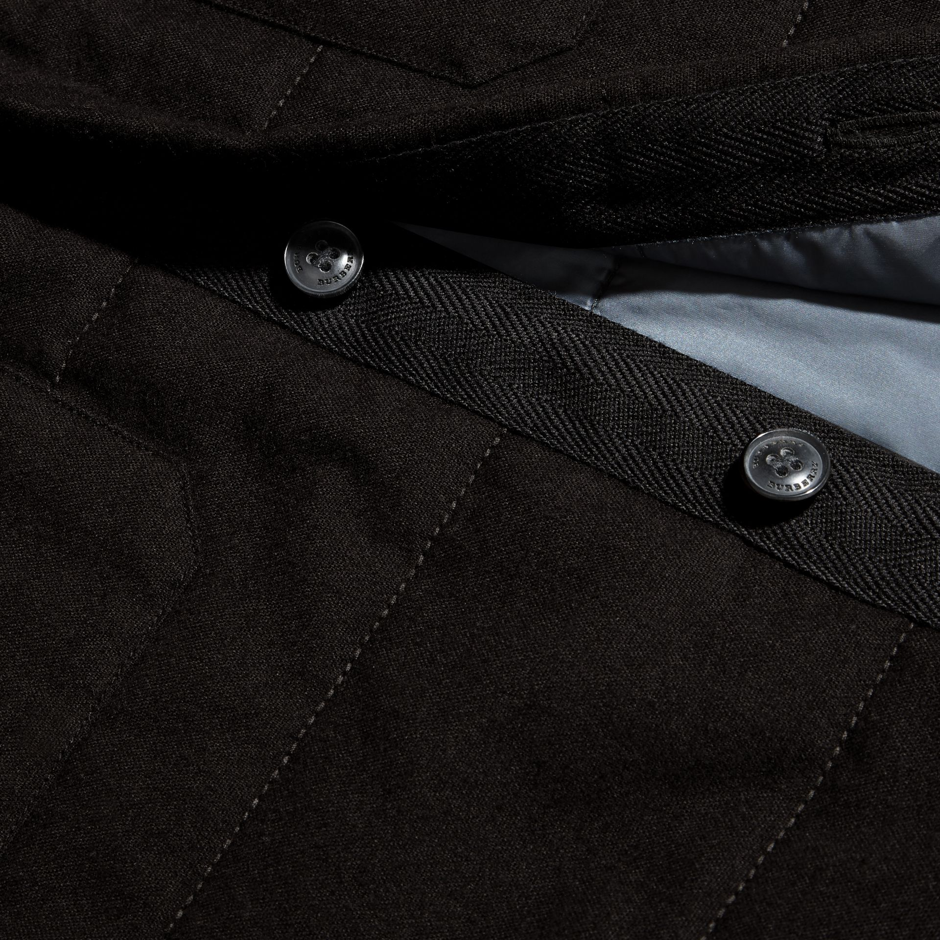 Black melange Wadded Cotton Wool Overshirt - gallery image 2
