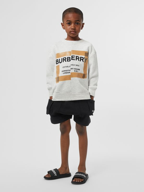 Horseferry Print Cotton Sweatshirt in White Melange | Burberry United States - cell image 3