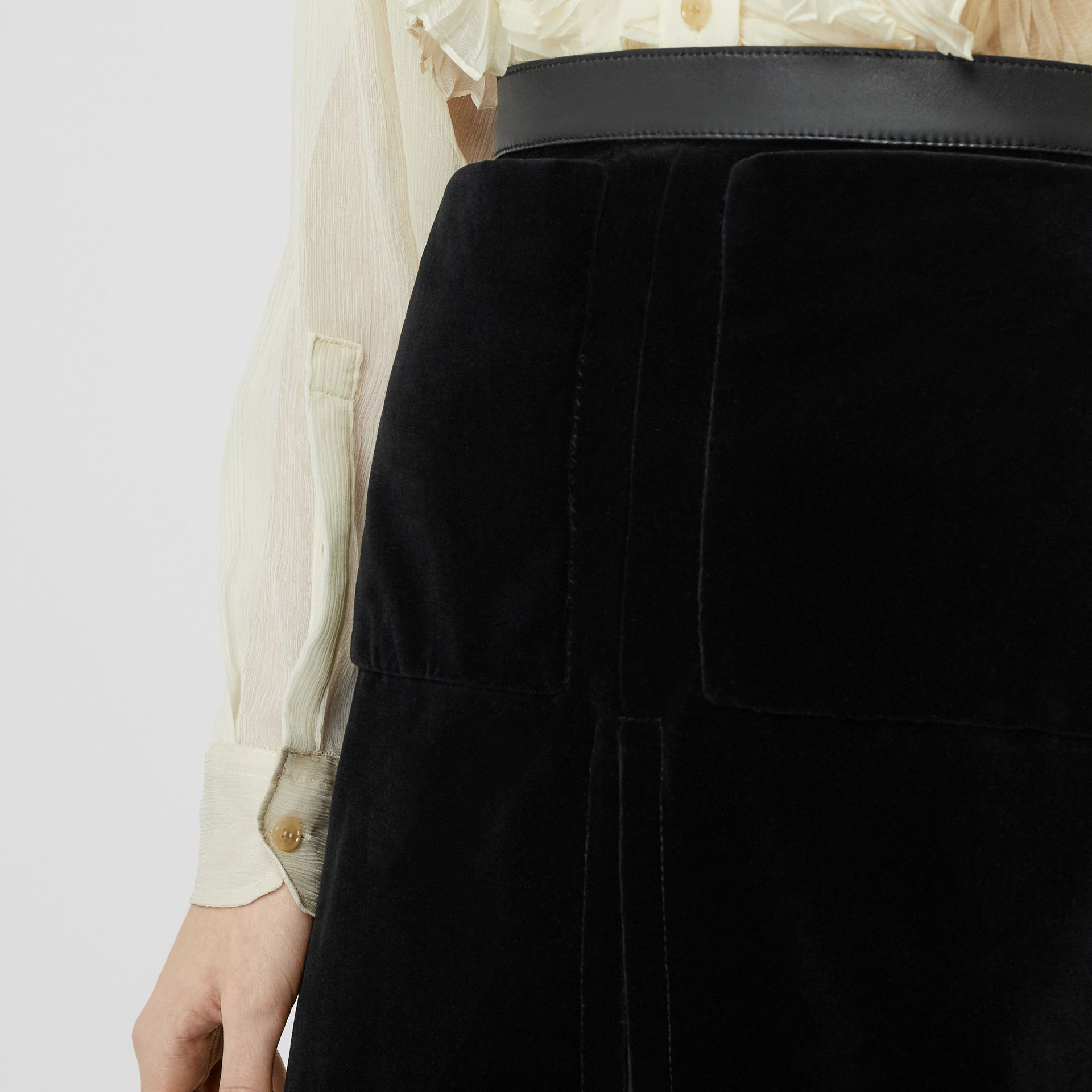 Lambskin Trim Box Pleat Detail Velvet and Wool Skirt in Black - Women | Burberry - gallery image 5