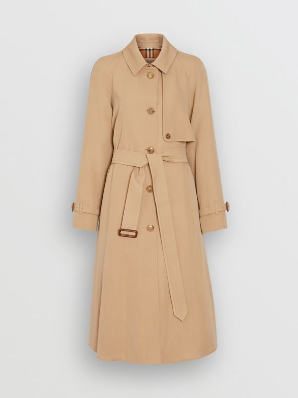 Wool Gabardine Trench Coat in Honey - Women | Burberry United States - cell image 3