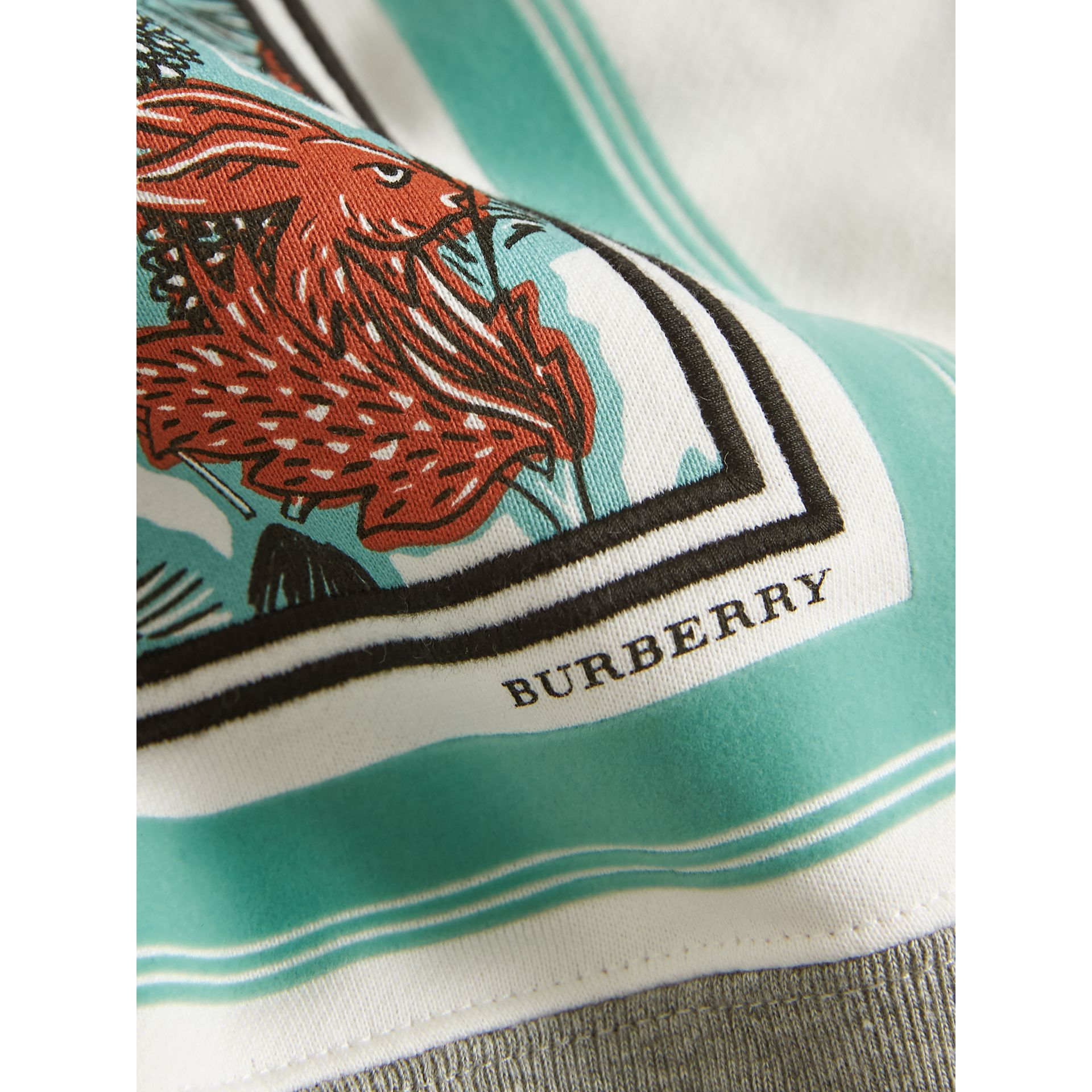 Beasts Print Cotton Sweatshirt in Grey Melange - Girl | Burberry - gallery image 2