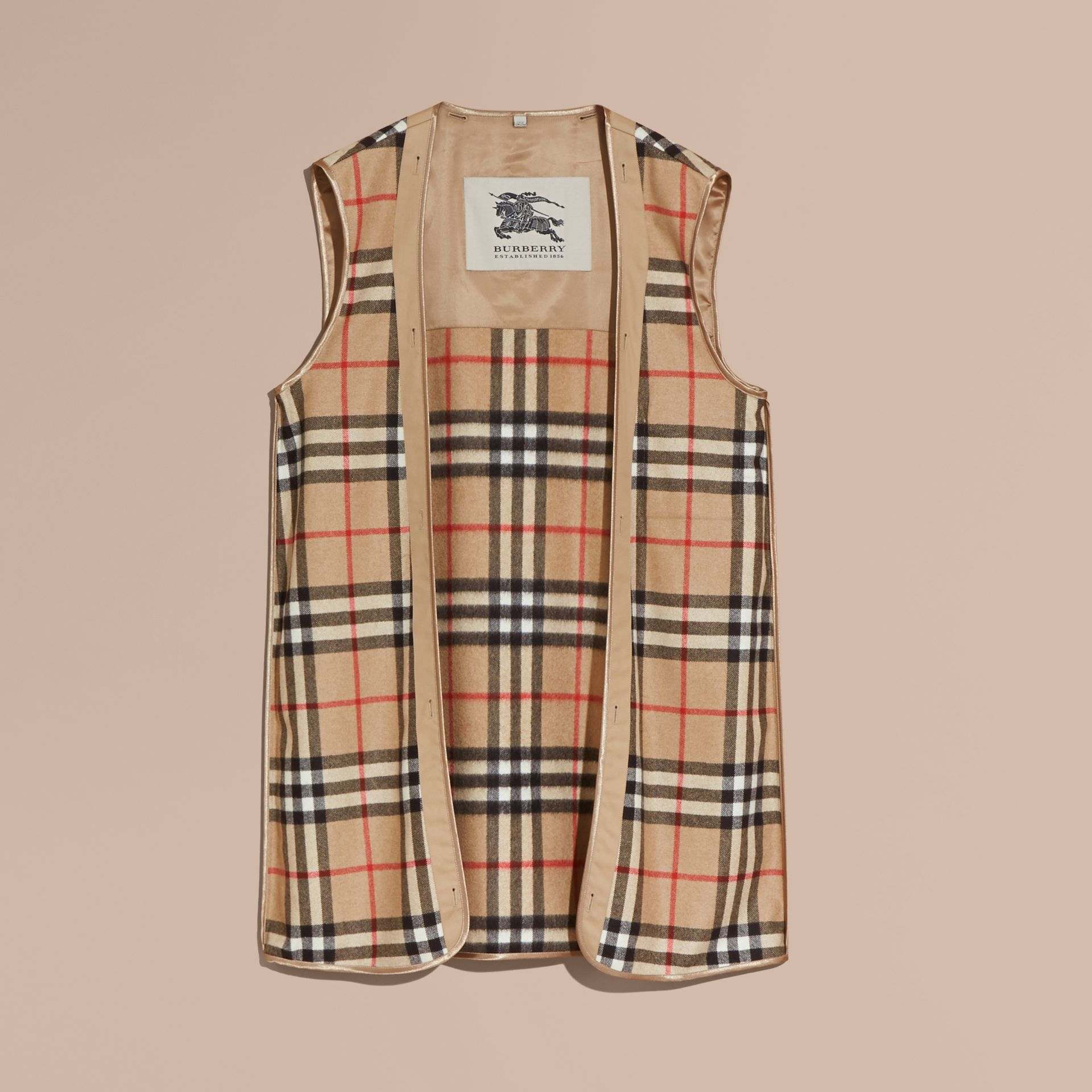 Westminster-fit House Check Cashmere Wool Warmer in Camel - Men | Burberry - gallery image 0