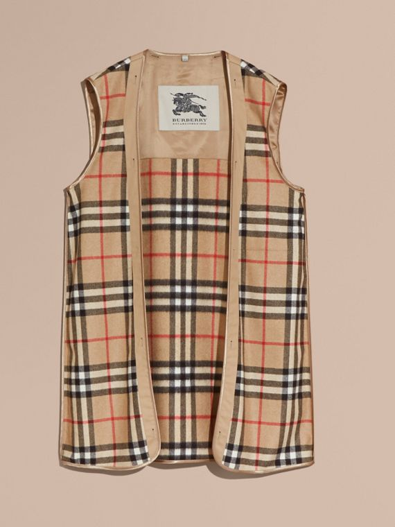 Westminster-fit House Check Cashmere Wool Warmer in Camel